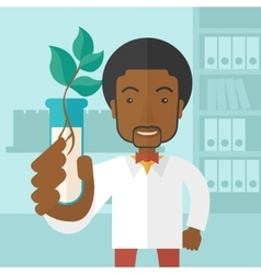 Black guy chemist with tube and eco leaves vector