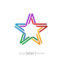 Colorful star from ribbon on white background vector
