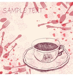 Handwritten background with a tea cup vector