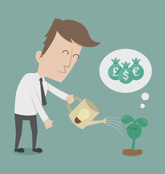 Business man watering money tree vector