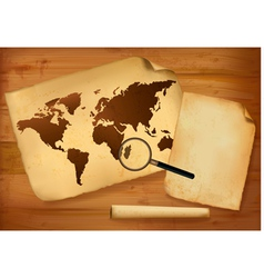 Old map and old paper on wooden background vector