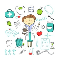 Health icons doodle ilustration woman doctor vector