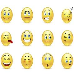 Set of pensive smiles vector
