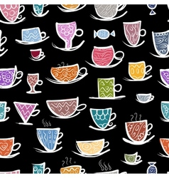 Set of ornate mugs seamless pattern for your vector