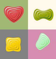Set logos of plastic forms heart icon logo logo vector