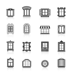 Vintage windows set flat exterior icons vector