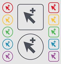 Cursor arrow plus add icon sign symbol on the vector