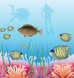 Tropical fishes and scuba divers vector