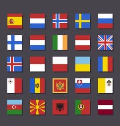 Europe flag icon set metro style vector