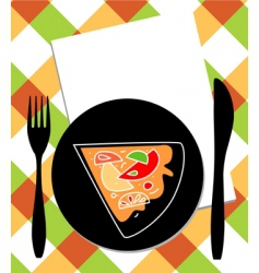 Pizza on plate vector