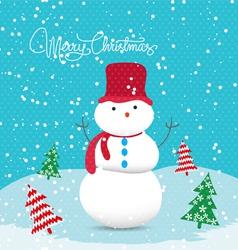 Merry christmas card with snowman so cute vector