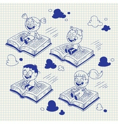 Kids flying on books cartoon vector