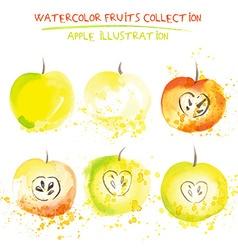 Watercolor apple set vector
