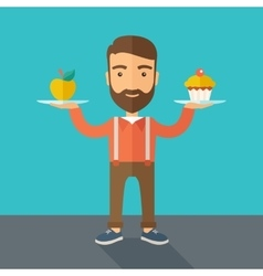Man carries with his two hands cupcake and apple vector