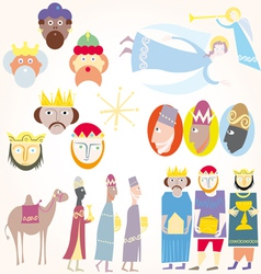Three wise men christmas set vector