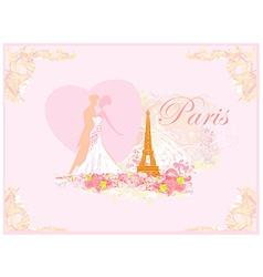 Romantic wedding couple dancing in paris kissing vector