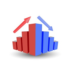 Business graph with growth up arrow down arrow vector