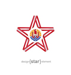 Star with flag of french polynesia colors and vector