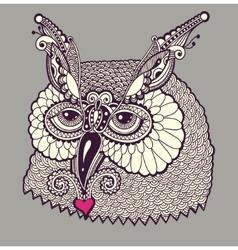 Digital drawing of owl head vector