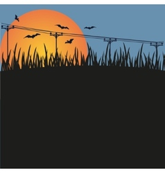 Dark background - night a sunset and bats vector