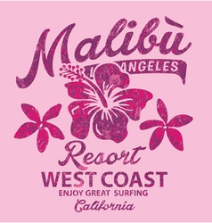 Malibu surfing with hibiscus vector
