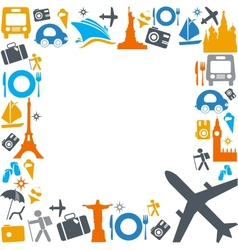 Colorful traveling and transportation icons vector