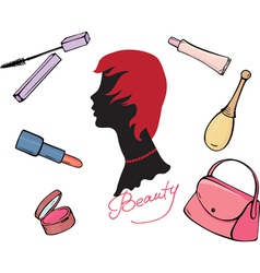 Set of cosmetic items vector