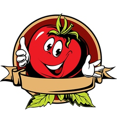 Round tomato cartoon label vector