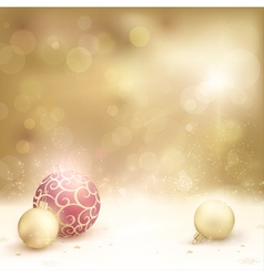 Golden christmas background with baubles vector