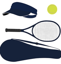 Tennis equipment blue set vector