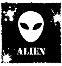 Alien logo on black background vector