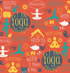Yoga lifestyle seamless pattern vector