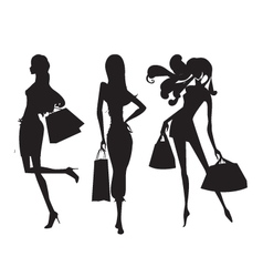 Fashion shopping girls vector
