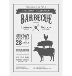 Vintage barbecue invitation card vector