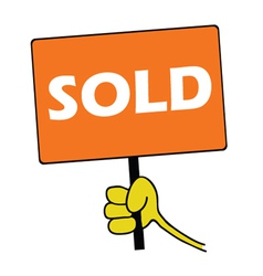 Hand holding orange board with sold message vector