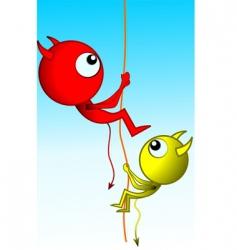Illustration of aliens climbing rope vector