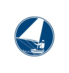 Sailing yachting circle icon vector
