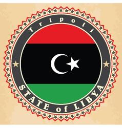 Vintage label cards of libya flag vector