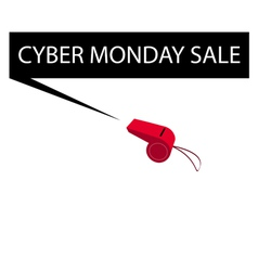 A red whistle blowing cyber monday banner vector