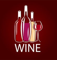 Logo wine bottle and wine glass vector