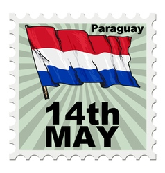 Post stamp of national day of paraguay vector
