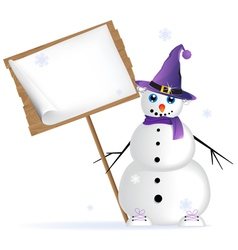 Snowman in lilac hat vector