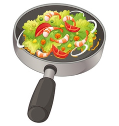 A pan with a food vector