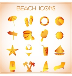 Beach icons vector
