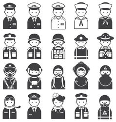 Various people symbol icons officer and uniform vector