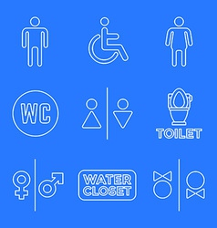 Various white color line water closet signs toilet vector
