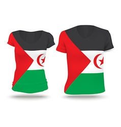 Flag shirt design of western sahara vector