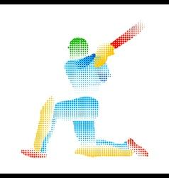 Creative abstract cricket player design by halfton vector