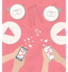 Human hand is sending love messages vector