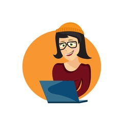 Cartoon of young hipster woman with laptop vector